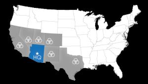 Arizona, California, Colorado, Nevada, New Mexico, Texas, and Utah