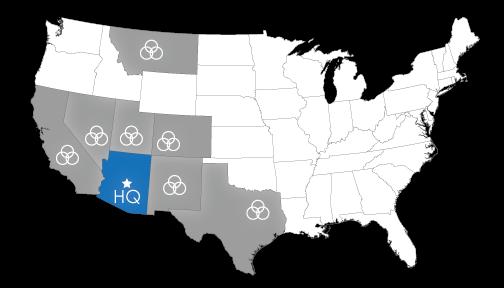 Arizona, California, Colorado, Nevada, New Mexico, Texas, Utah, Montana
